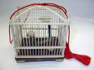 Image of Ivory Bird Cage with Birds