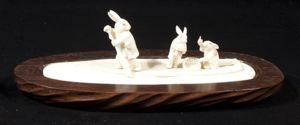Image of Ivory Sculpture of Three Rabbits Taking Dumplings to the Rabbit in the Moon