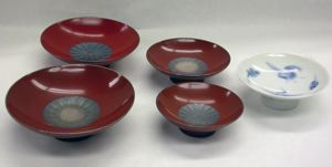 Image of Set of Four Sake Cups with Lidded Candy Dish and Presentation Box