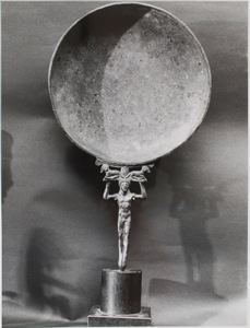 Image of Etruscan Bronze Mirror or Phiale with Nude Male Handle, Front View