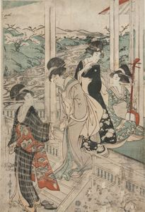 Image of Group of Women on the Engawa of a Country House for Cherry Blossom Viewing
