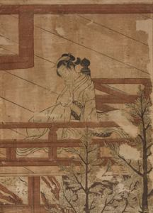 Image of Young Woman Seated on the Balcony of Kiyomizu Temple