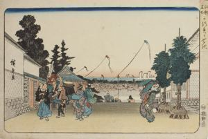 Image of Kasumigaseki (with kites), from the series Famous Places in Edo (Kôto meisho)