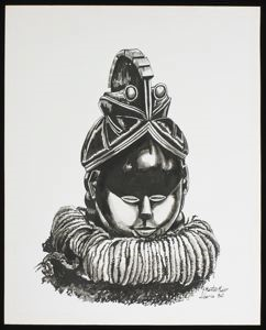 Image of Ink Drawing of a Helmet Mask