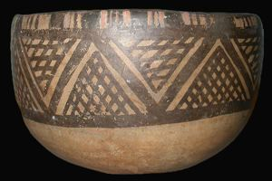 Image of Bowl with Geometric Design of Cross-Hatched Triangles
