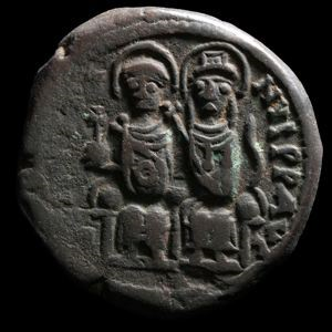 Image of Byzantine Follis of Nicomedia Issued by Justin II and Sophia
