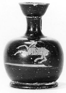 Image of Attic Red-Figure Squat Lekythos (Oil Bottle) with Fawn