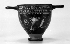 Image of South Italian Polychromatic Gnathian Skyphos (Cup) with Objets de Toilette