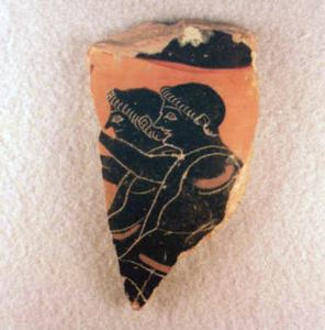Image of Attic Black-Figure Sherd with Two Youths