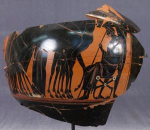 Image of Attic Black-Figure Amphora (Storage Vessel) Fragment with Figural Scene