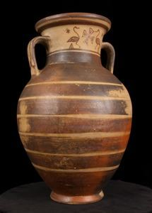 Image of Attic Late Geometric Spouted Neck-Handled Amphora (Storage Vessel) with Birds