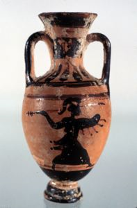 Image of Attic Black-Figure Miniature Panathenaic Amphora (Storage Vessel)