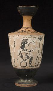 Image of Attic White-Ground Lekythos (Oil Bottle) with Seated Figures