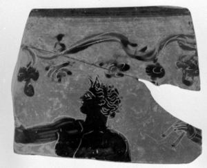 Image of Boeotian Kabeiric Black-Figure Kantharos (Cup) Fragment with Male Figure