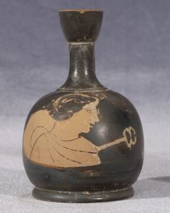 Image of Attic Red-Figure Squat Lekythos (Oil Bottle) with Hermes