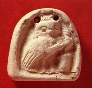 Image of Loom Weight with Owl Spinning