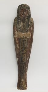 Image of Egyptian Painted Wooden Ushabti (Funerary Sculpture)