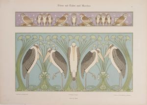 Image of A Frieze with Owls and Herons from Dekorative Vorbilder