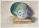 Image of Still Life with Green Bowl, Teapot, and Book