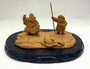 Image of Wooden Carving of Ebisu and Daikoku Gods and Tai Fish