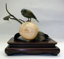 Image of Ivory Persimmon and Mejiro Bird Sculpture in Shakudo on a Lacquer Tray