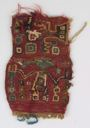 Image of Huari Textile Fragment with the Hombre de los Báculos (Staff God) and Winged Attendant Figure