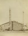 Image of Indian Dwelling and Totem Poles, Wrangler, Alaska, 1887