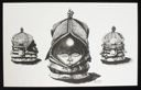 Image of Ink Drawing of Helmet Mask (Three Views)