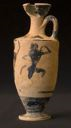 Image of Attic Black-Figure Lekythos (Oil Bottle) with Satyr and Maenad