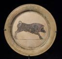 Image of Italo-Corinthian Plate with Painted Boar and Stag