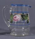 Image of Glass Pitcher Set with Hand-Painted Roses