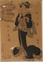 Image of Standing Woman Holding Book over her Mouth, Arihara Narihira from an Immortal Poets (Rokkasen) series