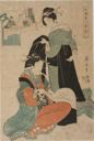 Image of Two Beauties: one tying her obi, the other drying silk floss, from the series, Women Engaged in Sericulture (Joshoku kaiko tewaza-gusa)