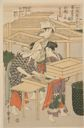 Image of No. 4 from the series Women Engaged in the Sericulture Industry (Joshoku kaiko tewaza-gusa)